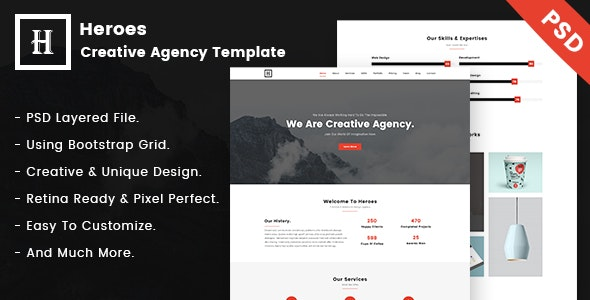 Heroes   Creative One-Page PSD Template. - Business Corporate
