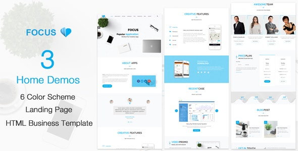 Focus - Creative Mobile Apps HTML5 Template - Creative Site Templates