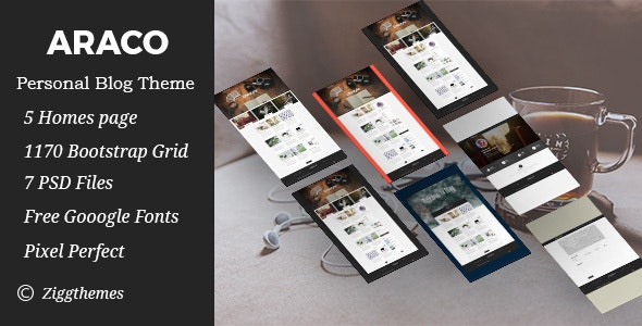 Araco –Clean Personal Blog PSD Template - Personal Photoshop