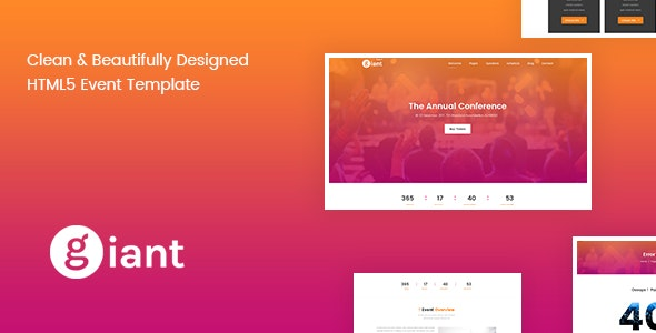 Giant Event - Conference & Event Management Template - Events Entertainment