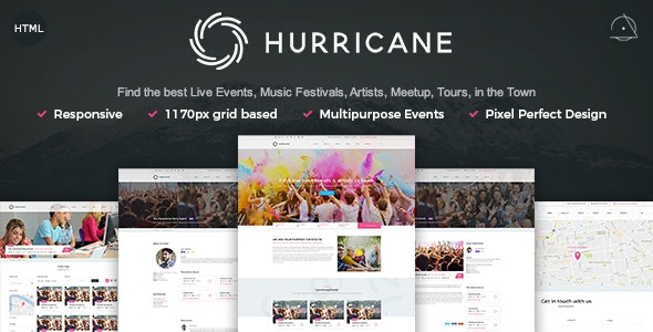 Hurricane - Live Events, Artists, Tours & Music HTML Template - Events Entertainment