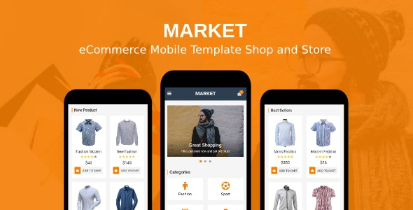 Market - eCommerce Mobile Template Shop and Store - Mobile Site Templates