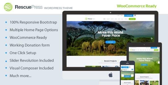 RescuePress - Environmental Protection, Charity & Non-Profit WordPress Theme