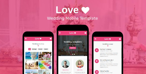 Love - Wedding Mobile Template - Mobile Site Templates