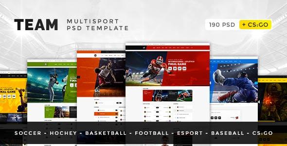 Team — Soccer, Football, Hockey, Basketball, Sport Club and eSport PSD Template