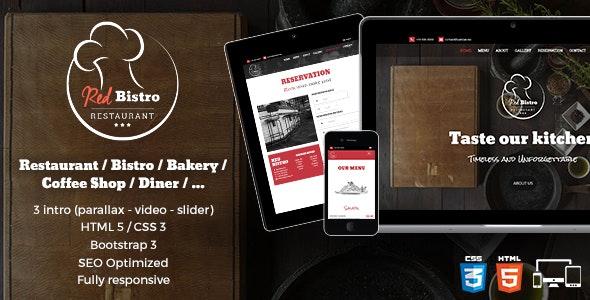 Red Bistro - Restaurant Responsive HTML5 Template - Restaurants & Cafes Entertainment