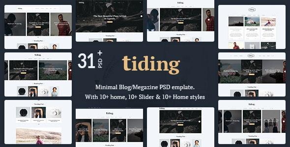 Tiding Minimal Blog/Magazine PSD Template - Personal Photoshop