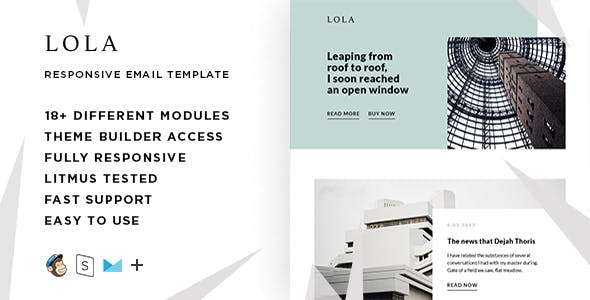 Lola  – Responsive HTML Email + StampReady, MailChimp & CampaignMonitor compatible files