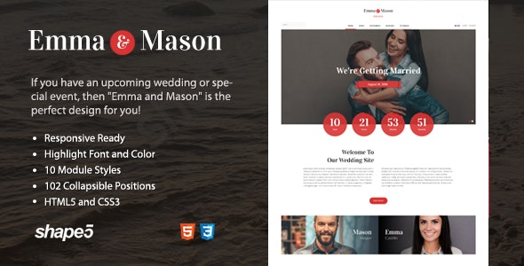 Emma and Mason - Wedding or Special Event Theme - Wedding Joomla
