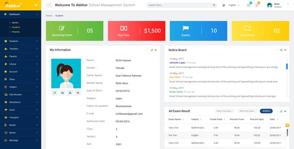 Admin - Akkhor School Management System PSD