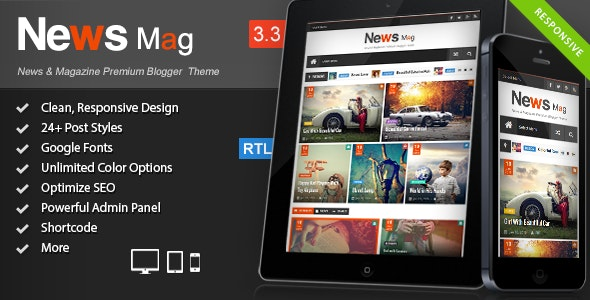 News Mag - Responsive Magazine Blogger Template - Site Templates