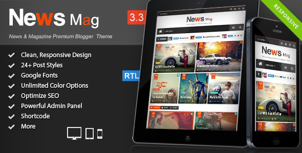 News Mag - Responsive Magazine Blogger Template - Blogger Blogging