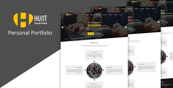 HUNT - Personal Portfolio and Corporate  HTML Template - Portfolio Creative