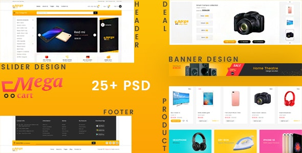 Megacart - Multi Purpose E-commerce PSD Template - Photoshop UI Templates