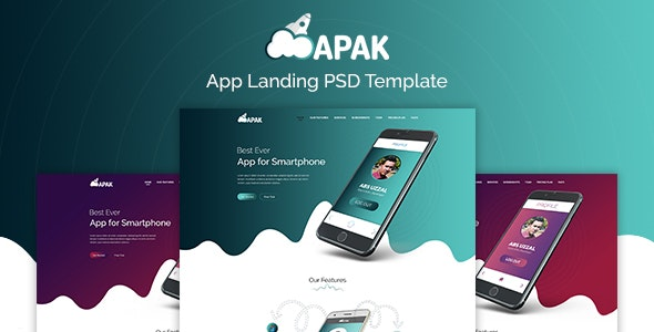 Apak - App Landing PSD Template - Photoshop UI Templates
