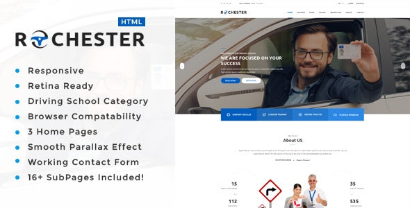 Rochester : Driving School HTML Template - Business Corporate
