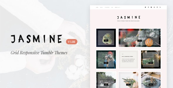 Jasmine   Grid Responsive Tumblr Theme - Blog Tumblr