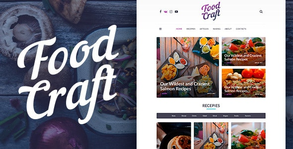 Food Craft - Clean & Modern PSD theme for Food Blog - Photoshop UI Templates