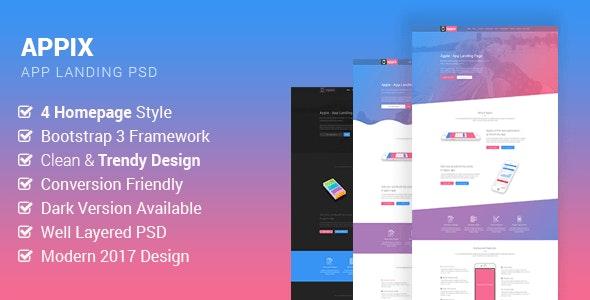 Appix - Creative App Landing Page PSD Template - Creative Photoshop