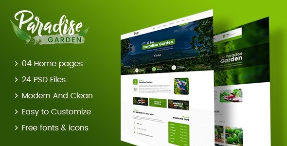 Paradise Garden - Gardening and Landscaping PSD Template - Business Corporate