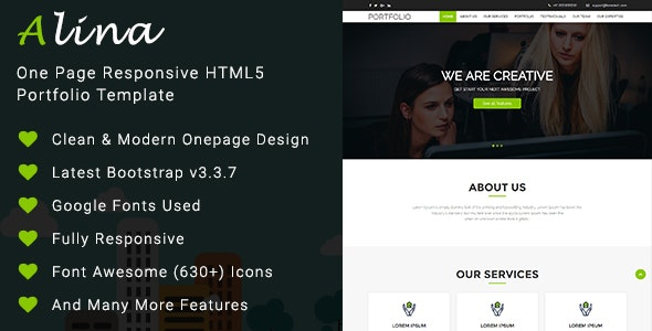 One Page Responsive HTML5 Portfolio Template - Alina - Business Corporate