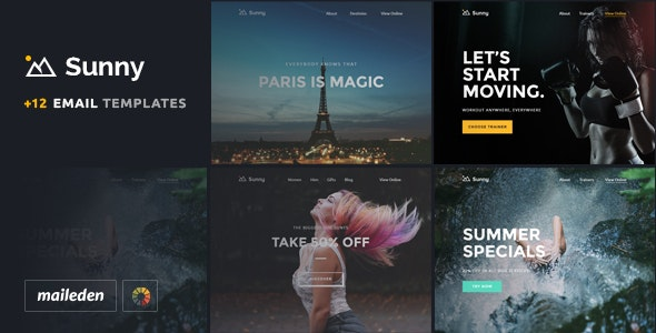 Sunny -  11 Responsive Email Templates + Builder - Email Templates Marketing