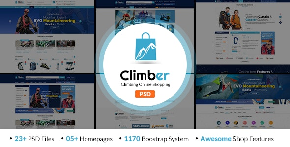 Climber - Travel Accessories PSD Template - Travel Retail