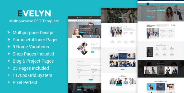 Evelyn | Multipurpose Business and Agency PSD Template - Business Corporate