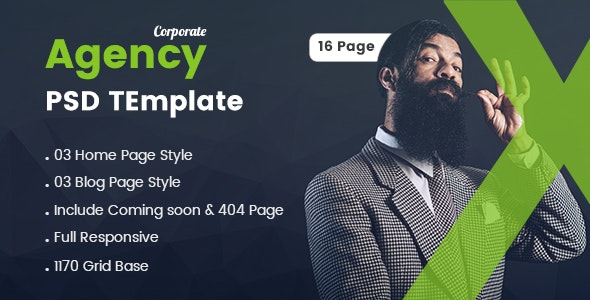 Corporate Agency PSD Template - Corporate Photoshop