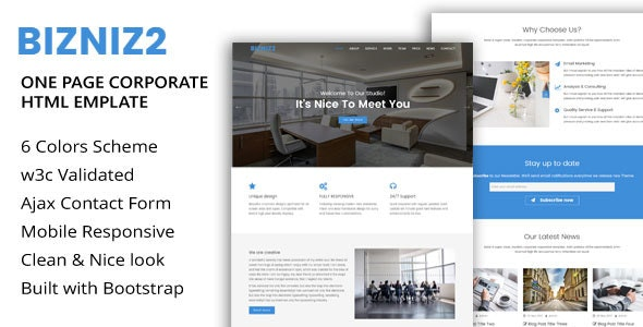Bizniz2 - One Page Mutlipurpose Html5 Template - Business Corporate