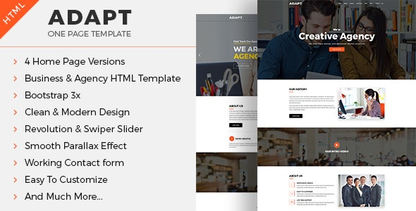 Adapt - One-page Business & Agency HTML Template - Corporate Site Templates