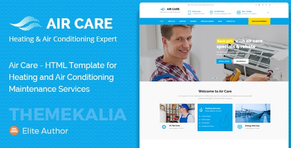 Air Care - HTML Template for Heating and Air Conditioning Maintenance Services - Business Corporate