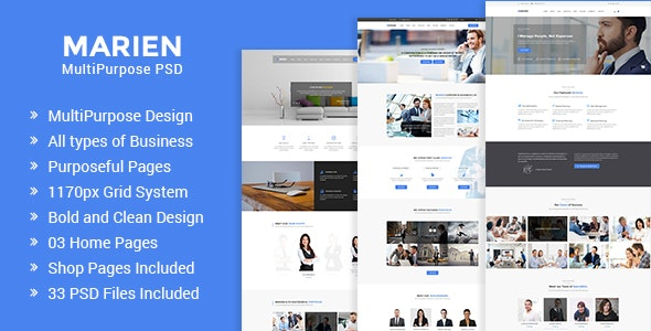 Marien – MultiPurpose Business PSD Template - Business Corporate