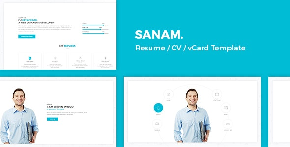 Sanam - Resume / Cv / vCard Template - Virtual Business Card Personal