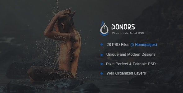 Donors - Multipurpose Non-profit PSD Template - Nonprofit Photoshop