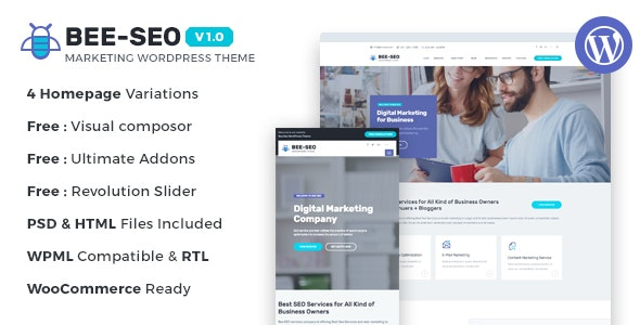 Bee SEO - Marketing WordPress Theme - Marketing Corporate