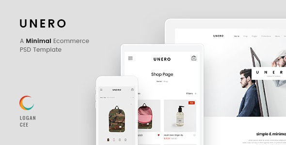 Unero - Minimalist eCommerce PSD Template - Retail Photoshop
