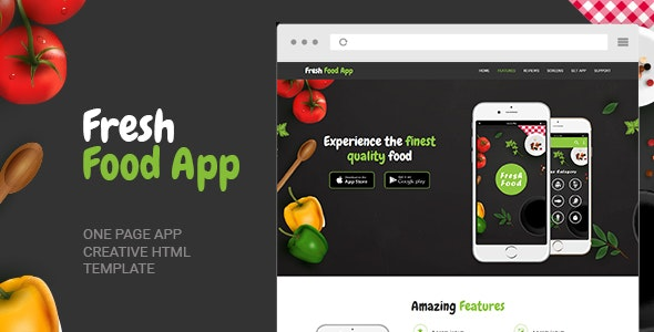 Fresh Food App – One Page Template - Marketing Corporate