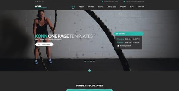 KONN - One Page PSD Template for Gym, Yoga & Dance