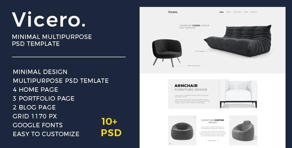 Vicero - Minimal Multipurpose PSD Template - Photoshop UI Templates