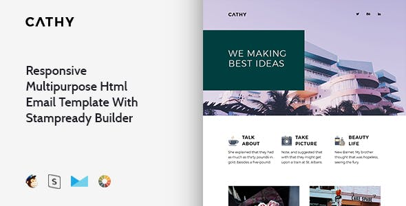 Cathy - Responsive Email + StampReady, MailChimp & CampaignMonitor compatible files