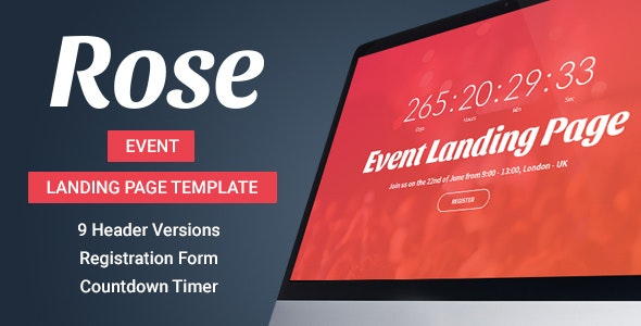 Rose - Event Landing Page Template - Events Entertainment