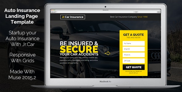 Jr. Auto Insurance Landing Page - Responsive Muse Template - Landing Muse Templates