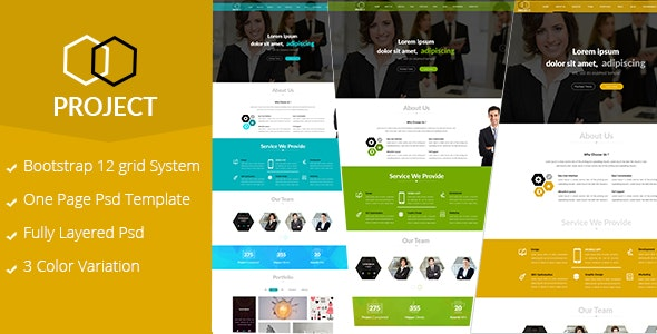 Project-One Page Corporate PSD template - Business Corporate