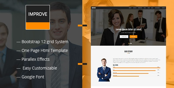 Improve-One page Corporate responsive Template - Business Corporate