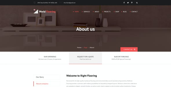 World Flooring - Flooring & Tiles PSD Template