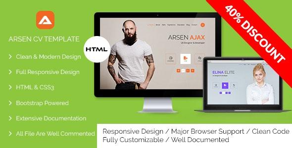 ARSEN - CV/RESUME - HTML Template - Creative Site Templates