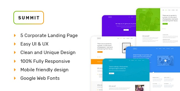 SUMMIT - Professional Business HTML5 Landing Page - Business Corporate