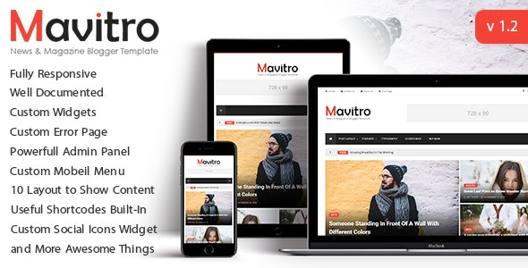 Mavitro - News & Magazine Blogger Template - Blogger Blogging