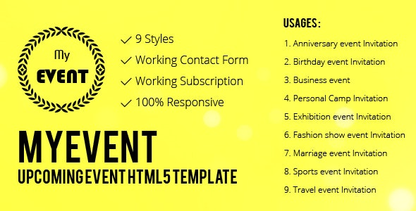 MyEvent- The Upcoming Event HTML5 Responsive Template - Entertainment Site Templates